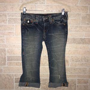 True Religion Joey Cut Off Capri Jeans